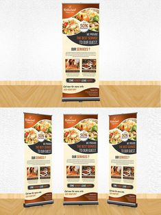 Restaurant Rollup Banner Specifications: Size plus in bleeds total 150 DPI Resolution CMYK photos are NOT included. Menu Design, Food Design, Flyer Design, Company Brochure Design, Graphic Design Brochure, Banner Design Inspiration, Brochure Inspiration, Standing Banner Design, Magazine Ideas