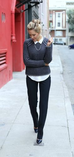 cuts for layering{navy and gray striped varsity crewneck sweater layered over white button down silk shirt, flare leg dress pants, classic navy pumps, tommy hilfiger} Office Outfits, Fall Outfits, Casual Outfits, Cute Outfits, Women's Casual, Office Fashion, Work Fashion, Women's Fashion, Varsity Sweater