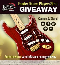 Austin Bazaar is giving away a Free Fender Deluxe Players Strat! Enter to win this red-hot Stratocaster by June 30th, then share with friends to increase your chances of winning!   Enter to win at http://www.austinbazaar.com/giveaway