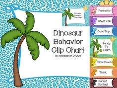 Check out this colorful classroom behavior clip chart.There are 7 places for students to clip on this behavior clip chart.  It comes with a full page header and full page green -ready to learn.Other pages are half page.pink -fantasticpurple -great jobblue -good dayyellow -slow downgreen -ready to learnorange -thinkred -parent contactCheck out other matching dinosaur theme products for your classroom theme.Dinosaur Theme bundleBackground paper:  PaulaKimStudio.com