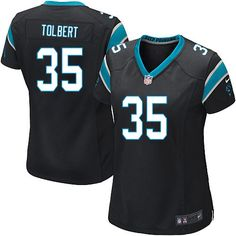 Women Nike Carolina Panthers #35 Mike Tolbert Limited Black Team Color NFL Jersey Sale
