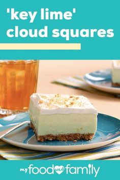 Find yourself on Cloud Nine with these 'Key Lime' Cloud Squares! The fluffy texture of these 'Key Lime' Cloud Squares will send you to dessert heaven. Cool Whip Desserts, Lime Desserts, Make Ahead Desserts, Just Desserts, Delicious Desserts, Dessert Recipes, Dessert Ideas, Cream Cheese Bars, Cream Cheese Recipes