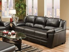 WRB  Over-sized Bonded Leather Sofa with contrast stitch. See store for details.