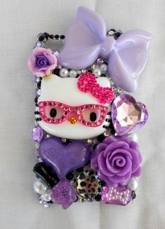 Nerd Kawaii purple hello Kitty ipod 4g Case