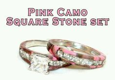 Pink camo wedding ring set