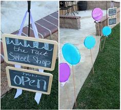 candy themed party...lollipops to guide the way...how cute, chalkboards