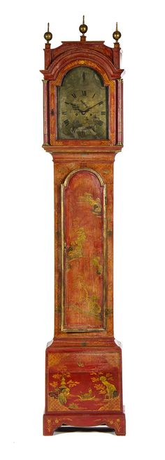 A George III Red Chinoiserie Lacquered Case Clock 18TH CENTURY, JNO KNIGHT,