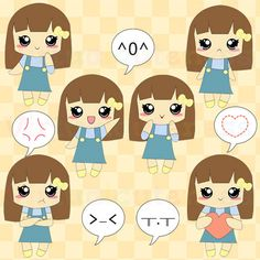 Cute Girl Clipart - Chibi Girls Clip Art, Emoticons, Emojis, Kawaii Girl, Planner, Anime, Digital Stickers, Free Commercial and Personal Use