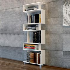 🌟 💖 🌟 💖 Library has 6 niches Blok - White and imitation walnut Home Decor Shelves, Wall Shelves Design, Bookshelf Design, Home Office Decor, Home Decor Bedroom, Bookshelf Ideas, White Shelving Unit, White Shelves, Bookcase White