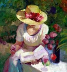 Woman with wine & book. Painting by Sally Rosenbaum.