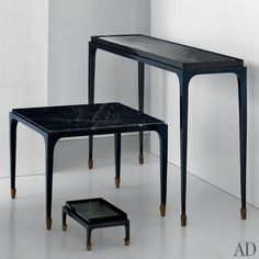 Ralph Rucci. Tapered feet are featured on several pieces, including, from top, the Narrow console table, the tea table, and the footstool, which is available surfaced with cast glass (shown), marble, or lacquer.