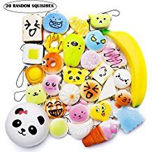 Squishies Toy Kawaii Squishy 20 Pcs Set Scented Slow Rising Party Gift EDC Stress Reliever Random Jumbo Medium Mini With Phone Straps Cake/Panda/Bread/Buns/Donuts For Adults and Kids Prime By Ombrace Panda Bread, Squashes, Bread Bun, How To Relieve Stress, Party Gifts, Stress Reliever, Cute Gifts, Edc, Easter Eggs