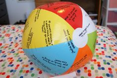 Beach Ball Questions Game-I made this when I worked as a Recreational Therapist at a Psych Hospital and used this with my patients to get them to talk more and interact with the group. Le Blanc - May 04 2019 at Team Bonding Activities, School Age Activities, Activities For Kids, Exercise Activities, Primary Activities, Christmas Activities, Preschool Ideas, Beginning Of School, First Day Of School