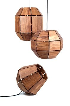 Greta Lamps by Paul Roco – taking their form from the fragmentation of a hand grenade the split-second after it explodes these wooden lamps can be hung or left standing.