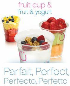 fruit & yogurt cups | Yogen Fruz | Frozen Yogurt & Smoothies Fruit And Yogurt Parfait, Fruit Cups, Yogurt Cups, Fruit Salad, Smoothies, Frozen, Snacks, Healthy, Breakfast