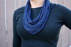 Navy infinity scarf, circle scarf, braided scarf. $20.00, via Etsy.