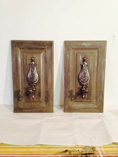 Cabinet doors and thrift store sconces