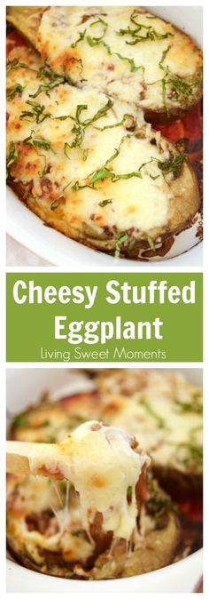 This delicious Cheesy Stuffed Eggplant Recipe is easy to make, vegetarian and very cheesy. Healthy for dinner. The eggplant is roasted for extra flavor. Perfect as a side dish. More on livingsweetmoment… - Cheesy Stuffed Eggplant Recipe Vegetable Recipes, Vegetarian Recipes, Cooking Recipes, Healthy Recipes, Egg Plant Recipes Easy, Cooking Ideas, Vegetarian Italian, Free Recipes, Salad Recipes