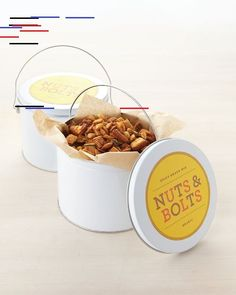 "Make Dad this ""nuts and bolts"" cereal snack mix that has an addictive blend of savory seasonings and spices. Package this homemade treat in a tin lined with parchment and top it off with our colorful clip art.Print the Nuts and Bolts Snack Mix Label Easy Father's Day Gifts, Handmade Father's Day Gifts, Homemade Fathers Day Gifts, Homemade Gifts, Diy Gifts, Snack Mix Recipes, Dog Food Recipes, Snack Mixes, Cereal Recipes"