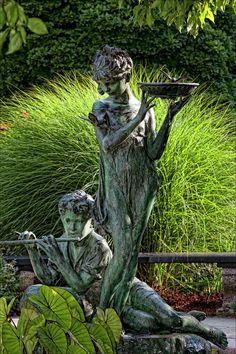 The Secret Garden Memorial Statue And Bird Bath Photograph