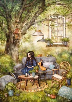 숲 속의 거실 (Living room in the forest) by 애뽈 on Grafolio Art And Illustration, Forest Girl, Girl And Dog, Art Graphique, Whimsical Art, Anime Art Girl, Cute Cartoon, Cute Drawings, Cute Art