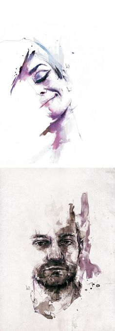 Textured Illustrations by Florian Nicolle aka Neo - Inspiration Grid Watercolor Face, Watercolor Portraits, Illustration Mode, Guache, Drawing Eyes, Woman Drawing, A Level Art, Wow Art, Portrait Art