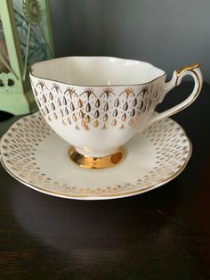Vintage Teacup and saucer Queen Anne Gorgeous Gold Drops, Scalloped Edges, Heavy Gold Footed Teacup, Bone China, England, 1960's. Chocolate Photos, Hot Chocolate, Cherry Blossom Bonsai Tree, Gold Gilding, Scalloped Edge, Queen Anne, Hand Blown Glass, Teacup, Bone China