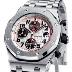 Audemars Piguet Royal Oak Offshore 26170ST.OO.1000ST.01. Selfwinding chronograph with date display and small seconds at 12 o'clock. Stainless steel case, silvered dial, stainless steel bracelet.