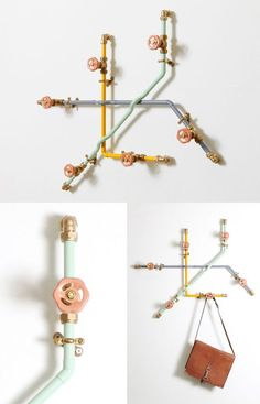 Bettina Holst - rack from Nick Fraser. Use hardware store pipe and metal wheels for hooksmand towel racks