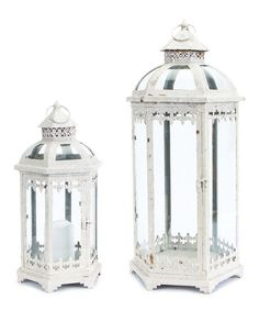 Look what I found on #zulily! White Fleur-de-Lis Scrollwork Lantern Set #zulilyfinds
