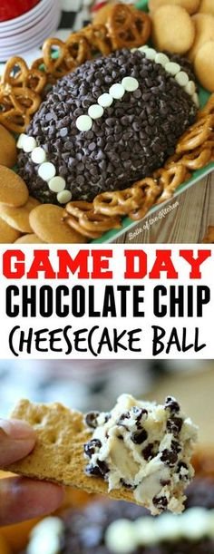 This Chocolate Chip Cheesecake Ball is the perfect appetizer for game day snacki. This Chocolate Chip Cheesecake Ball is the perfect appetizer for game day snacking! Go on and wow your guests at your next football party with this easy, yummy treat! Brownie Desserts, Chocolate Chip Cheesecake, Brownie Cookies, Köstliche Desserts, Delicious Desserts, Dessert Recipes, Yummy Food, Chocolate Chips, Chocolate Snacks