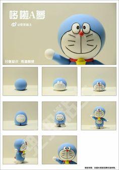 Doraemon Fondant Figures Tutorial, Cake Topper Tutorial, Cute Doodle Art, Cute Doodles, Fondant Cake Toppers, Fondant Cakes, Fimo Clay, Polymer Clay Charms, Doraemon Cake