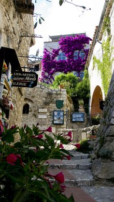 Eze , Cote d'Azur, France - A medieval village above Monaco overlooking the sea filled with artisan shops, restaurants and galleries.