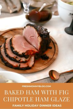 Baked Ham with Fig Chipotle Ham Glaze Recipe for the perfect holiday dinner! How to bake a ham with incredible flavor... a little bit of heat, a little bit sweet and great every time for your holiday table. Perfect for Thanksgiving dinner, Christmas dinner, Easter ham and more! Ham Recipes, Veggie Recipes, Cooking Recipes, Healthy Recipes, Fig Butter, Smoked Jalapeno, Ham Glaze, How To Cook Ham, Baked Ham