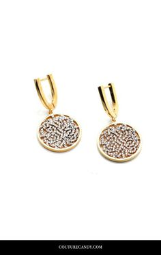 Tresor Collection - Signature Logo Earrings In 18k Yellow Gold With Diamonds | CoutureCandy.com