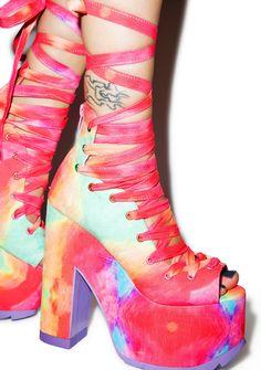 947767177 Y.R.U. X Dolls Kill Rainbow Ballet Bae Platforms Sock Shoes