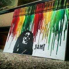 Bob Marley crayon art