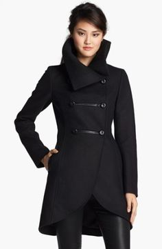 Leather Trim Double Breasted Coat
