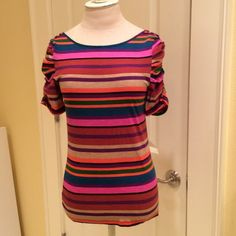 Anthropologie 9-H15 STCL stripe tee Super colorful stripe tee with button embellishment on shoulders and ruched sleeves. Great condition Anthropologie Tops Tees - Short Sleeve