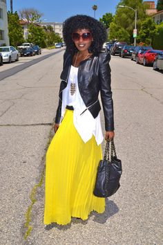 Puff Sleeve Moto Jacket + Boho Tank + Pleated Maxi Skirt  Posted May 8, 2012 by SP in My Style | 15 comments