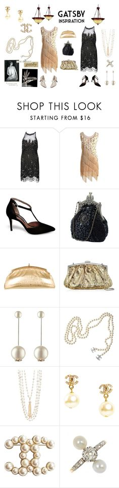 """The Great Gatsby"" by sandra-moreno-2 on Polyvore featuring Bob Mackie, Steve Madden, Judith Leiber, Julia Cocco', Chanel, Rosantica, Kichler, women's clothing, women's fashion and women"