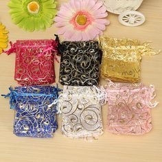 Organza Gift Pouch Jewelry Gift Candy Bag Packing Drawable Wedding Party Gift Bags.