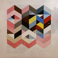 In this ongoing series Reconfigured Grid from painter Jeff Depner, he well reconfigures the grid forming new shapes pointing your eye in every direction. Layering and pairing colors to trick the ey…
