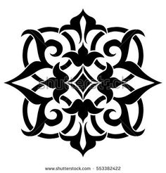 Geometric Islamic Tile Pattern Arabesque, template, stencil, black and white, square.