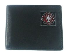 Leather Bi-fold Wallet - Fire Fighter ** Find out more about the great product at the image link.