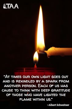"""""""At times our own light goes out and is rekindled by a spark from another person. Each of us has cause to think with deep gratitude of those who have lighted the flame within us. Albert Schweitzer Quotes, Me Quotes, Random Quotes, Qoutes, Deepest Gratitude, Textbook, Quotations, Bible Verses, Encouragement"""