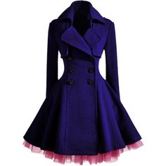 WithChic Double Breast Coat In Purple ($91) ❤ liked on Polyvore featuring outerwear, coats, double breasted coat, double breasted woolen coat, purple wool coat, woolen coat and blue coat