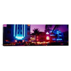 East Urban Home Panoramic Hotel lit up at Night, Miami, Florida Photographic Print on Canvas Size: