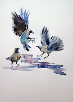ARTFINDER: Crows by Kovács Anna Brigitta - Original watercolour painting on high quality watercolour paper. I love landscapes, still life, nature and wildlife, lights and shadows, colorful sight. Thes...