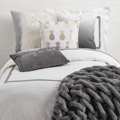 Shop Dormify for the hottest dorm room decorating ideas. You'll find stylish college products, unique room and apartment decor, and dorm bedding for all styles. Dorm Pillows, Pillow Room, Grey Pillows, Cute Pillows, Cute Bedding, Small Room Bedroom, Cozy Bedroom, Dorm Room, Bedroom Ideas